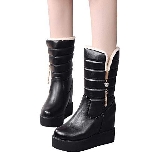 MYMYG Damen Boots Bottom Dicke Damen Kristall Stiefel -