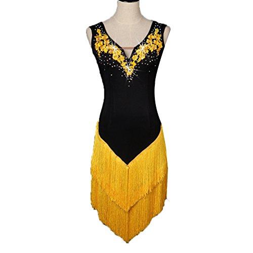MoLiYanZi V-Ausschnitt Lateinischer Tanz Fringe Rock für Frauen Professionel Wettbewerb Kleider Strass Latin Dance Performance Kleidung Applikationen Lateinisches Tanzkleid, Yellow, L