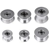 5Pz 2GT Alluminio Timer Puleggia 3D Stampante Accessori, 3mm / 5mm Foro Ruota 16/20 Denti o Senza Denti per Cinghia Larghezza 6mm / 10mm(W10mm, 20T, foro 5, dentato)