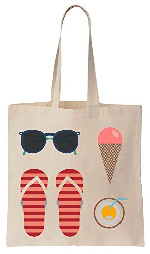 Summer Stuff Time For Holidays Cotton Canvas Tote Bag Baumwollsegeltuch-Einkaufstasche