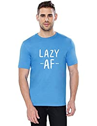 The Souled Store Lazy AF Cool Printed Premium BLUE Cotton T-shirt for Men Women and Girls