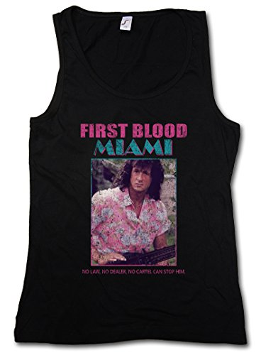 FIRST BLOOD MIAMI DONNA TOP - Vice John Rambo Sylvester Fun 80s Stallone T Shirt Taglie S - XL