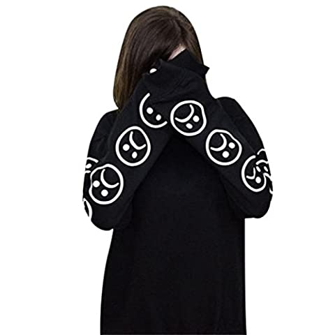 HCFKJ Femmes Triste Visages éMoticôNe Manches Imprimé Sweatshirt Tops (M, Noir)