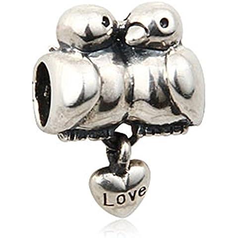 Soulbead Love Birds-Ciondolo in argento Sterling 925 per braccialetto con perline pendenti, gioielleria europea