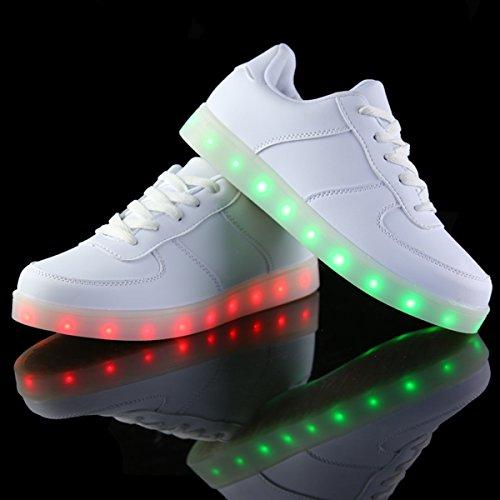 DoGeek Scarpe Led Luminosi Sneakers Scarpe uomo Con Le Luci Accendono Scarpe Sportive bianca