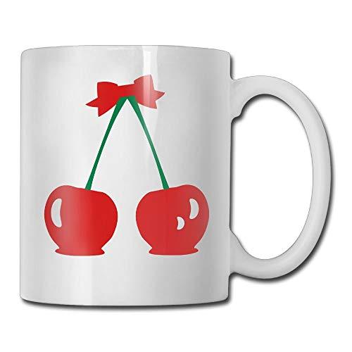 Daawqee Becher Coffee Mug New Cherries & Red Ribbon Mugs Fashion Ceramic Coffee Tea Cups, Double-Side Printing, 11oz