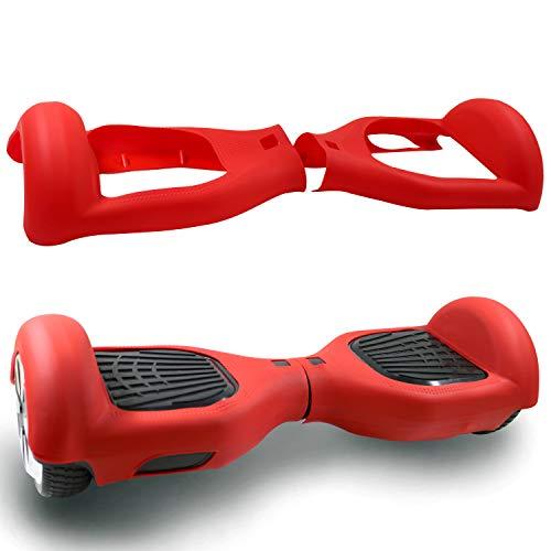 6,5″ Housse/Coque De Protection En Silicone Pour Hoverboard Segway/Gyropode/Trottinette Electrique 2Roues,Cool&Fun Coque Anti-rayures Etanche, Rouge