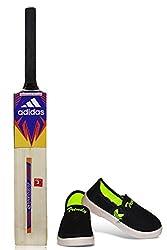 Akshat 67 cm. Cricket Stylish Bat with Black Color Casual Shoes for Kids (12 No.) Cricket Bat Grips Cricket Bat for Boys of 12-14 Cricket Bat