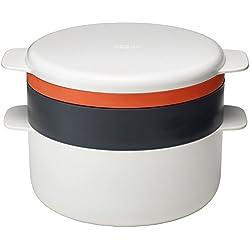 Joseph Joseph - M Cuisine - Set de 4 Pièces Empilables pour Cuisson au Micro-ondes - Blanc Orange et Gris