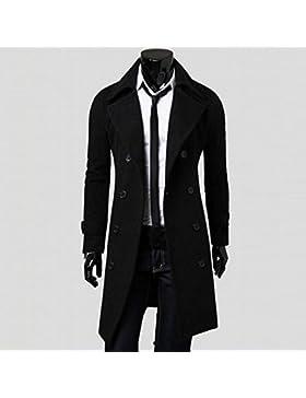 OverDose Hombres de invierno Slim elegante Trench Coat Double Breasted Chaqueta larga Parka (S, Negro)