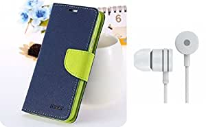 ASG Premium Book Cover For Samsung Galaxy Note 4 (Blue)+ Earphone (White)