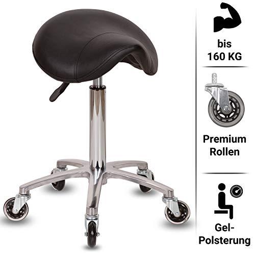 Staboos Profi Arbeitshocker - Drehhocker höhenverstellbar von 60-80cm - Rollhocker Premium Rollen - Sattelhocker aus Alu mit Gel Sattelsitz (Silber)