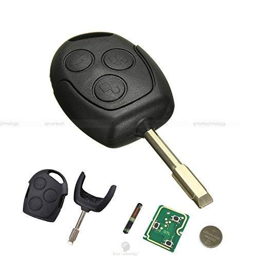 Schlüssel Gehäuse Schale Klinge Fernbedienung 3Tasten für Auto Ford Fiesta Focus Mondeo Ka Transit mit + 4D60Chip 433MHZ und Batterie CR2032enthalten