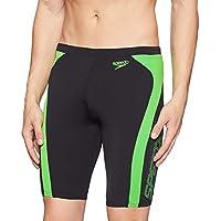 Speedo Male Swimwear Logo Graphic Splice Jammer (809668A833_Black and Fluo Green_Medium)