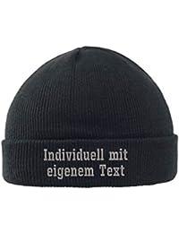 bestickt Mütze Strickmütze Blockschrift Umschlagmütze mit Wunschtext
