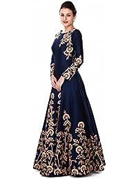 AnK Women's Blue Taffeta Embroidered Long Semi-Stitched Salwar Suit