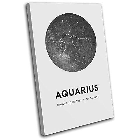 Bold Bloc Design - Constellation Aquarius Star Sign Starsign 90x60cm SINGLE Boite de tirage d'Art toile encadree photo Wall Hanging - a la main dans le UK - encadre et pret a accrocher - Canvas Art Print