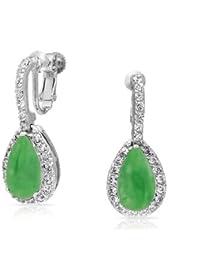 Bling Jewelry Clip En Jade Piedra CZ Teardrop Arete Tornillo Nupcial