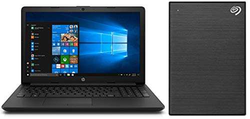 HP 15 AMD E2 15.6-inch Entry Level Laptop (4GB /1TB HDD/Windows 10 Home/Jet Black/2.04 Kgs), 15q-dy0001au + Seagate Backup Plus Slim 1 TB External Hard Drive Portable HDD - Black USB 3.0 Combo