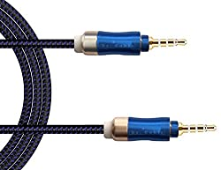 Aux Cable Act 3.5mm Nylon Braided Premium Auxiliary Audio Cable- Lifetime Warranty Series - For Beats Headphones, Apple Ipod Iphone Ipad, Home Car Stereos, Smartphones, Mp3 Player & More - 1m (Blue 24k Gold 1m Nylon)