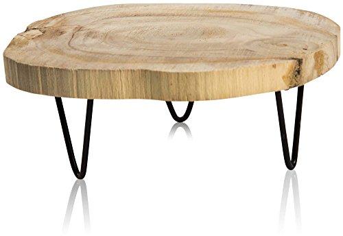 CHICCIE Baumscheibe Dekotablett mit Füßen - Ø 23cm - Holztablett Unterlage Baumstamm Untersetzer
