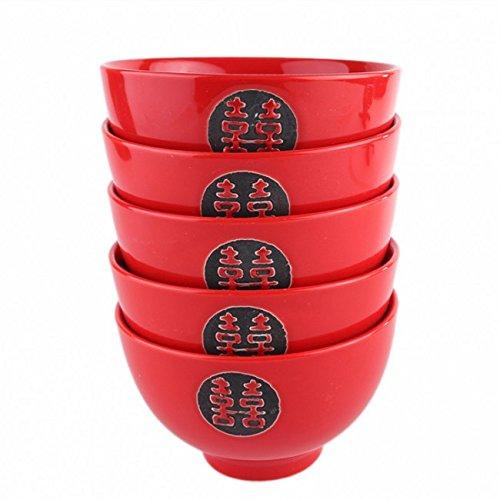 5 BOLS à RIZ CHINOIS - Rouge et Noir - Motifs Double Bonheur