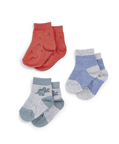 Mamas   Papas Pack of 3 Dinosaur Socks, Chaussettes Bébé garçon, Bleu (Blue 34ba3c7da95
