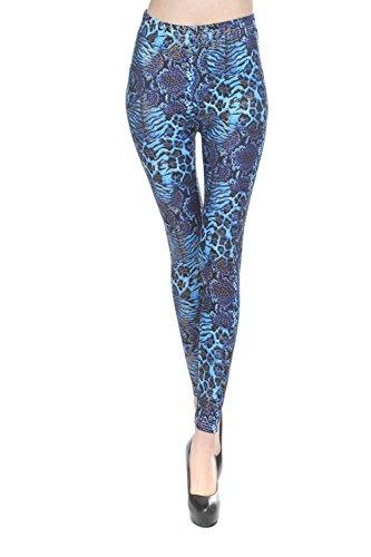 YesFashion Femme Pantalon Jegging Elasticité Collant Legging Thermique compression imprimé snakeskin serpent Bleu