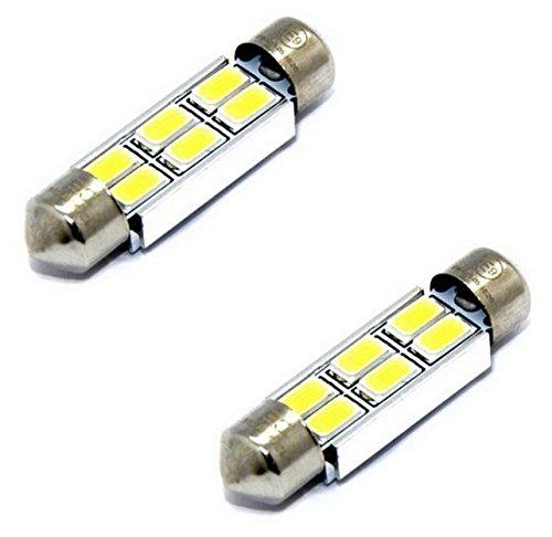 2x E9-PRÜFZEICHEN TÜV FREI CE CANBUS LED LAMPEN SOFFITTE C10W 42MM 6-SMD chip 3W KALTWEIß Innen- Kennzeichen- Einstiegs- Kofferraum- Fussraumbeleuchtung