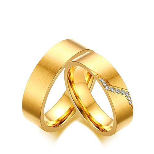 Blisfille Partnerringe Für Sie Und Sie Vergoldeter Ring Damen Herren Gold Titanring Gold Flat Band...