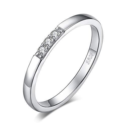 JewelryPalace Anillo Nupcial Conjunto 3 Piedra Zirconia