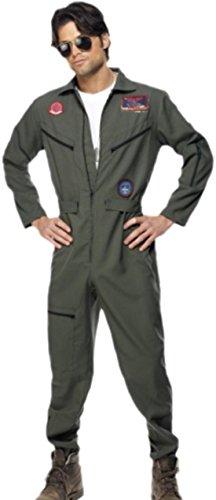 Confettery - Herren Top Gun Aviator Pilot Karneval Faschingskostüm , L, (Gun Kostüme Jungen Top)