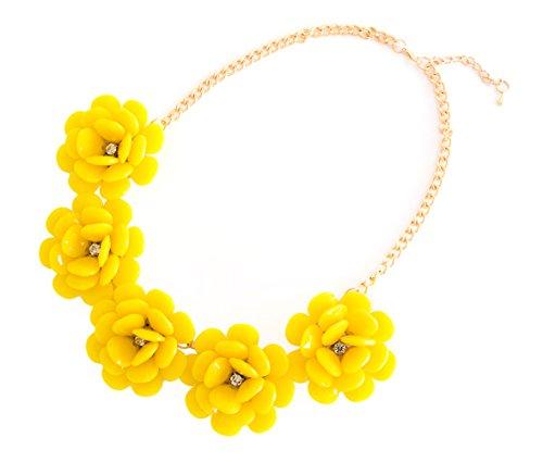 XXL Sommer Statement-Halskette Collier Blumen in der Farbe gelb Modeschmuck Schmuck Statementkette