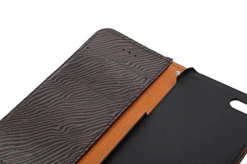 EKINHUI Case Cover Premium Zebra Texture PU Ledertasche Brieftasche Pouch Style Case mit Kickstand und Card Slots für iPhone 7 ( Color : Yellow ) Black