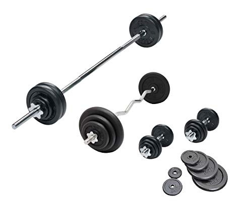 Barre d'haltère EZ &haltères en fonte avec 6 Set 72 kg haltères haltère EZ Curl Barre de musculation - 35 cm-Barre d'haltères avec colliers de serrage