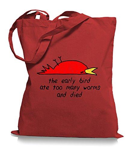 Ma2ca® È Morto Learly Bird - Jutebeutel Stoffbeutel Tragetasche / Bag Wm101 Classic Red
