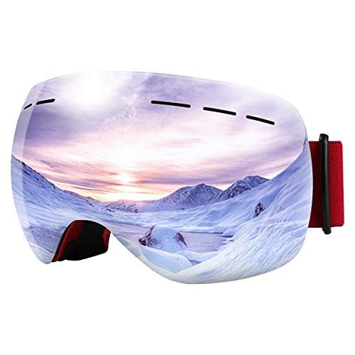 Bfull Skibrille Für Damen und Herren Kids Brillenträger Skibrille 100{cebe0673e0701791145d70b758d875e86ca01e5bc5410a1384ba942013b2ed38} OTG UV400 Anti-Fog UV-Schutz Skibrillen Snowboard Skibrille Schutz Ski Goggles (red Frame-Silver Lens VLT 9.5{cebe0673e0701791145d70b758d875e86ca01e5bc5410a1384ba942013b2ed38})