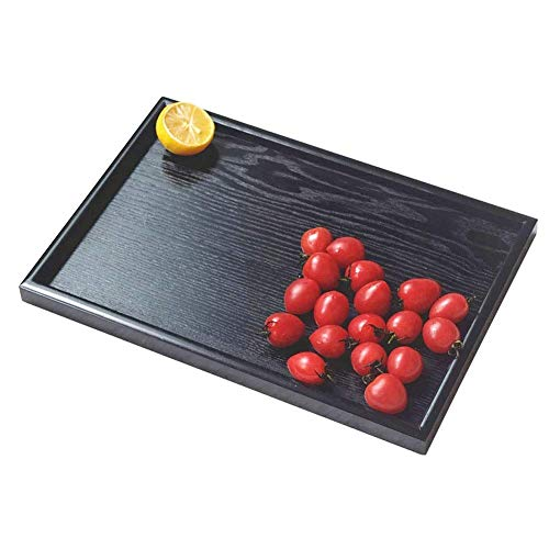GOUPPER Wooden Serving Tray Rectangle Fruit Tea Breakfast Platter for Home Hotel Cafe Coffee Shop Canteens Black Lacquer (30202cm) (30 * 20 * 2cm)