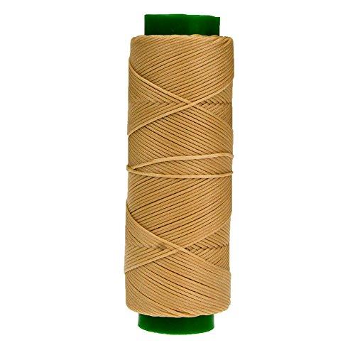100m Rolle stabiles Ledergarn aus Polyester stark gewachst von Langlauf Schuhbedarf (beige)
