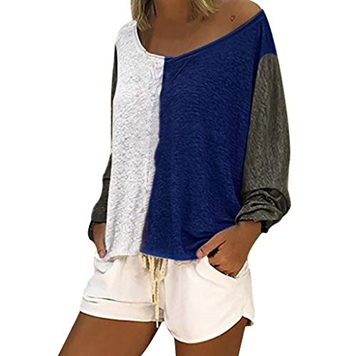 Lulupi Damen T-Shirts Lange Ärmel Oberteile Lose Casual Patchwork Farbblock Asymmetrischer T-Shirt Top Bluse Tunika -