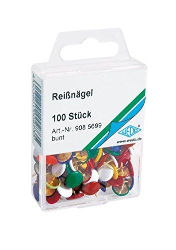 WEDO Reißnägel 908.56, farbig sortiert, Inhalt: 100 Stück -