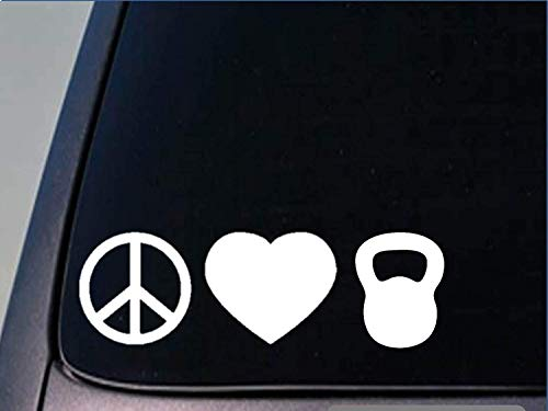 "Tollyee Car Decals and Stickers Peace Love Kettlebell Sticker *H81* 8"" Vinyl Crossfit Workout Fat Burner"