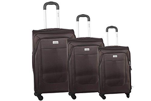 3 Maletas semirrígidas PIERRE CARDIN marrón cabina para viajes S284