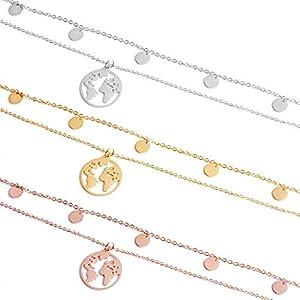 GD GOOD.designs EST. 2015 ® Multistrato 5 Coin Collana e Globo per Le Donne in Oro Argento o Oro Rosa, Multistrato Collana in Acciaio Inox con 5 Cerchi - e Ciondolo Mondo (Argento)