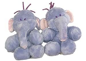 Doudou peluche LUMPY Efelant Elephant mauve Disney Nicotoy 22 cm assis LOT DE 2