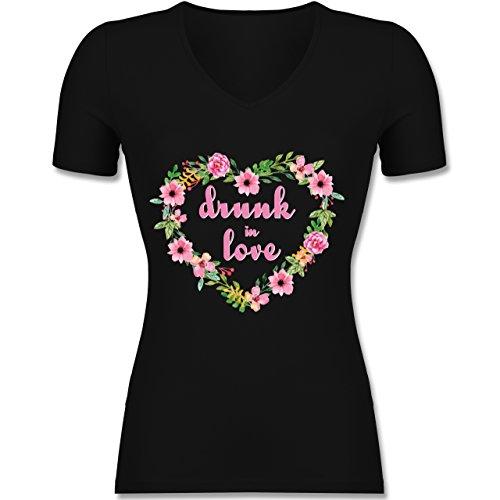 JGA Junggesellinnenabschied - Drunk in Love - JGA Braut - Tailliertes T-Shirt mit V-Ausschnitt für Frauen Schwarz