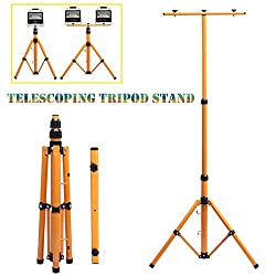 Telescopic Tripod Stand 148cm Max Height Mount for 1 Lamp or 2 Lamps Job Site Flood Light Spotlight PIR Sensor Lights Steel Stand for Outdoor Emergency Camping Studio