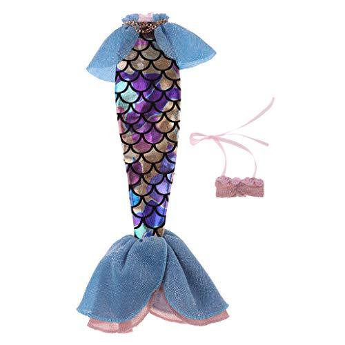 P Prettyia 2-teilig Schöne Meerjungfrau Kostüme Badeanzug Schwimmanzug für 1/6 Blythe Mädchen ()