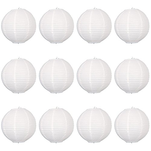 Paper lanterns UK Lot de 12 suspensions rondes en papier type lampion avec structure en fil de fer Blanc 30 cm