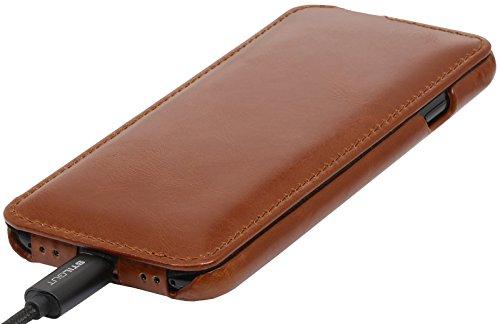 StilGut UltraSlim Case Hülle Leder-Tasche für Apple iPhone 8 Plus. Dünnes Flip-Case vertikal klappbar aus Echtleder für das Apple iPhone 8 Plus, Schwarz Cognac